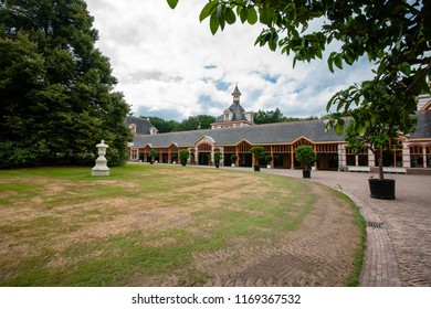 Typical traditional architecture based on the chalet or craft style at the former royal palace 'Het Loo' in Apeldoorn, the Netherlands