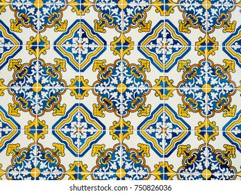 """Typical traditional ceramic tiles """"azulejos"""" from the Algarve on the southern coast of Portugal"""