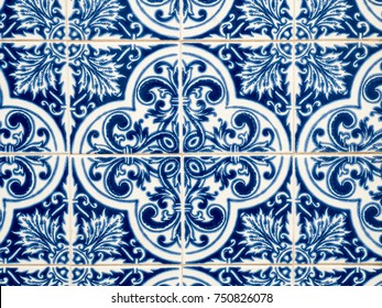 "Typical traditional ceramic tiles ""azulejos"" from the Algarve on the southern coast of Portugal"