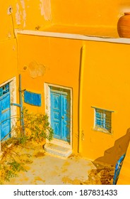 A typical traditional house in Oia the most beautiful village of Santorini island in Greece