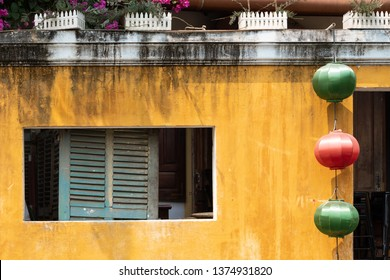 Typical traditional yellow house in Hoi An, Vietnam