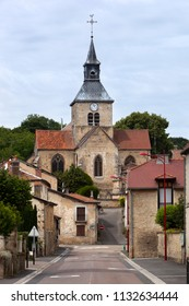 Typical tranquil village street in Doulevant le Château in France