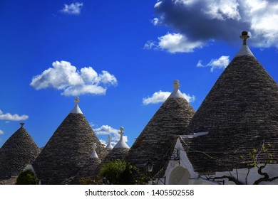 Typical trulli houses with conical roof in Alberobello, Apulia, Italy