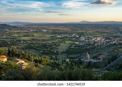 Typical Tuscan landscape viewed from Cortona, a medieval town in Arezzo province, Italy