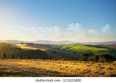 typical Tuscany countryside landscape; sunset over rolling hills and Tuscany village