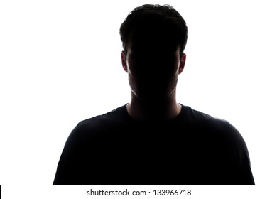 Typical upper body man silhouette wearing a t-shirt - mysterious face