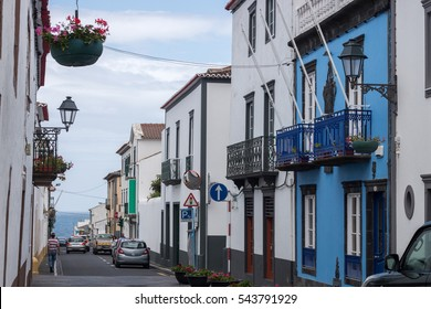 Typical urban architecture and streets of Sao Miguel island, Azores.