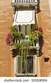 Typical Venetian Colored windows. Venice, Italy, Europe