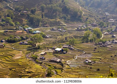 Typical Vietnamese villages and rice fields in Sa Pa, Vietnam