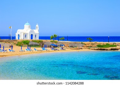 Typical view of Cyprus shore, St Nicholaus church in Protaras, Cyprus