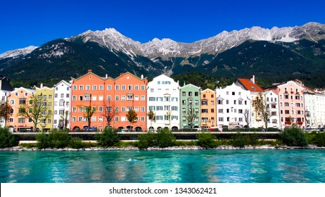 Typical view of Innsbruck city by the river, underneath the mountains, September 25th, 2013, Austria.