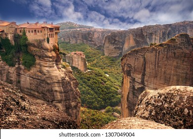 Typical view of Meteora with its monastery perched on the summit of its rocks