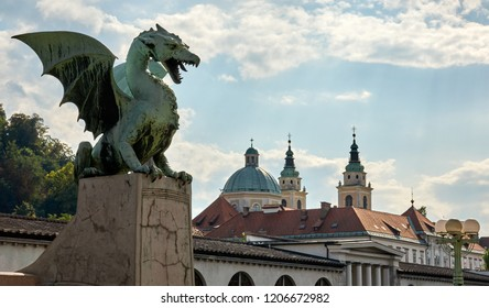 Typical view of the old town of Ljubljana in Slovenia