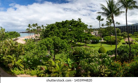 A typical view from a room at a tropical paradise beach resort at Kaanapali, Maui, Hawaii.