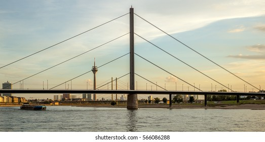 Typical view of the skyline of Dusseldorf in Germany during sunset