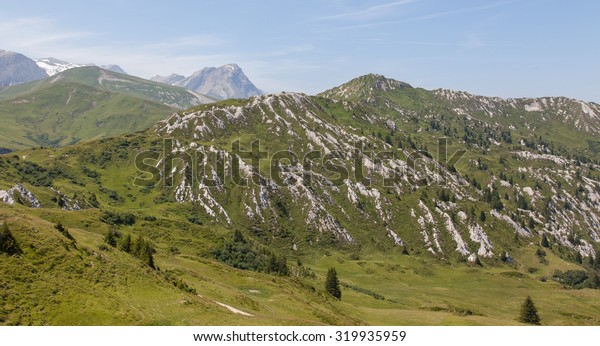 Typical view of the Swiss alps, valleys and mountains