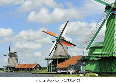 Typical view of windmill Amsterdam Netherlands Europe