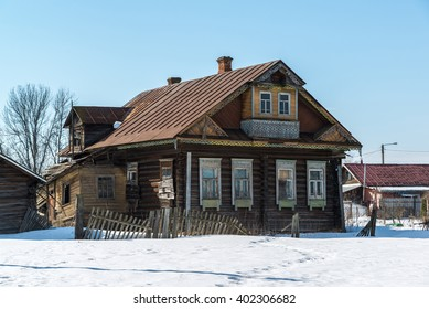 typical village house in countryside in Russia
