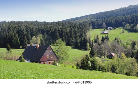 Typical village house in the mountains , Czech republic