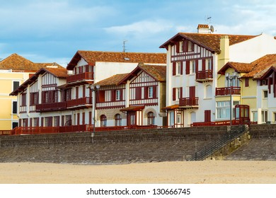 Typical white and red buildings from Saint Jean de Luz, France, Pays Basque.