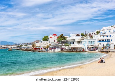 Typical whitewashed homes along the port area in Mykonos, Greece, Europe