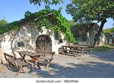 typical Wine Cellar on a Cellar Alley in Burgenland near Lake Neusiedl,Austria