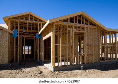 Typical wood frame construction in new housing development
