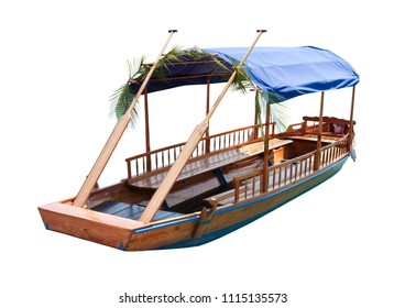 """Typical wooden boats, in slovenian call """"Pletna"""", used in the Bled Lake, the most famous lake in Slovenia (Europe - Slovenia) - Image on white background for easy selection"""