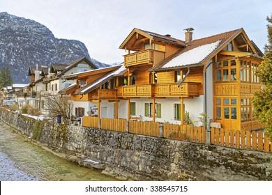 Typical wooden chalet in Garmisch-Partenkirchen. It is an idyllic mountain resort town in the valleys of the Bavarian Alps beneath the towering Zugspitze peak