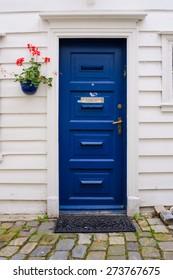 Typical wooden door in Bergen, Norway