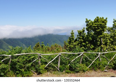 Typical wooden fence in the mountain of Madeira, Portugal