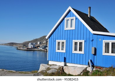 Typical wooden fisher house in Qaqortoq, Greenland. Qaqortoq is South Greenland's largest town