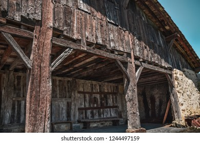 """""""Caserío"""", typical wooden house of the Basque country, at rural landscape in Spain"""