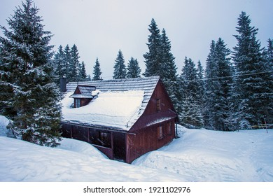 Typical wooden house in Tatra nature reserve ( service peope living here). Idyllic  holiday in Zakopane winter resort . Snow falling