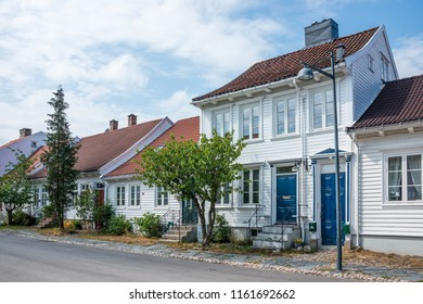 Typical wooden houses in a residential neighborhood of the Norwegian city of Kristiansand