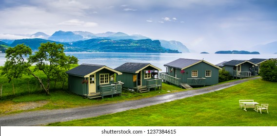 Typical wooden rorbu or fisherman's houses in Norway