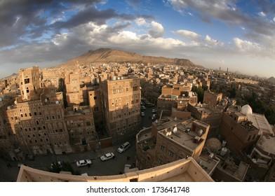Typical yemeni architecture taken with fisheye, Sanaa (Yemen).
