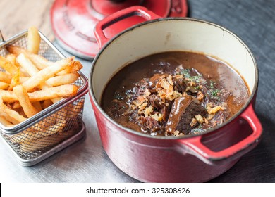 Typically Belgian dish: beef stew with beer 'Carbonades Flamands'