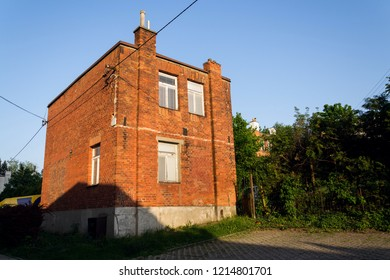 Typified red brick family Bata houses in Zlin, Moravia, Czech Republic, sunny summer day