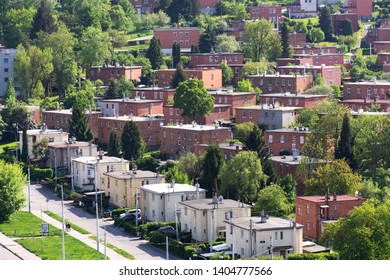 Typified red brick family Bata houses in Zlin, Moravia, Czech Republic, sunny summer day, aerial view