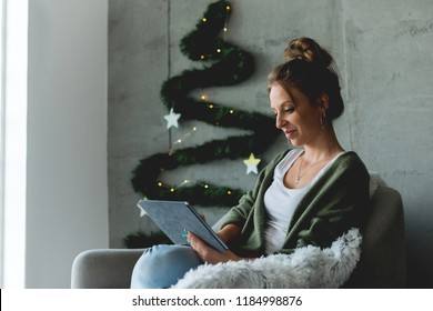 Typing on digital tablet - Holiday theme
