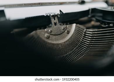 """Typing """"pandemic"""" on retro typewriter"""