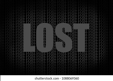 A typographic design focused on the word LOST.