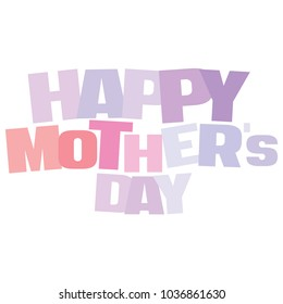 Typographic illustration of Happy Mother's Day in powder blue and twilight violet colors on an isolated white background