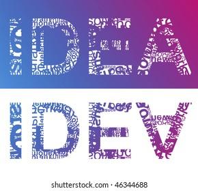 Typographic illustration of word IDEA