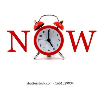 A typographic image spelling out the word Now using a red alarm clock.