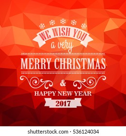 Typographic Retro Christmas Design on the red polygonal background