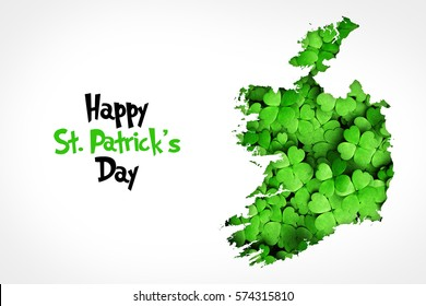 Typographic Saint Patrick's Day Background. Ireland map with Saint Patrick's Day wishes