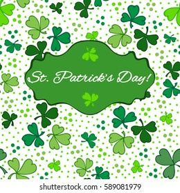 Typographic style poster for St. Patrick's Day with message. Poster design mock-up with green clover leaves on white