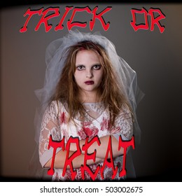 Typographical Quote - Trick or Treat - zombie bride for halloween